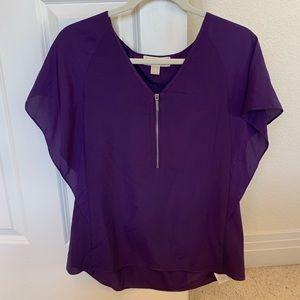 Michael by Michael Kors Purple Zipper Blouse